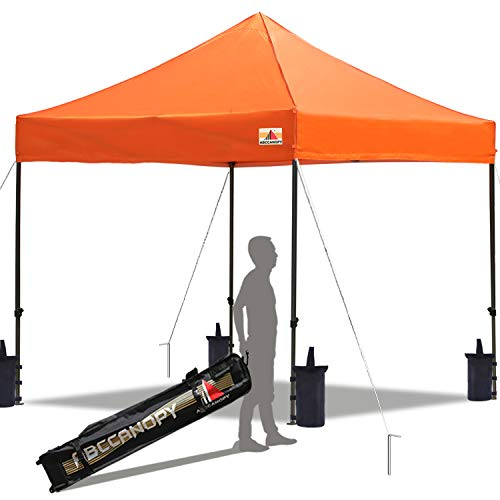 ABCCANOPY Pop up Canopy Tent Commercial Instant Shelter with Wheeled Carry Bag, Bonus 4 Canopy Sand Bags, 10x10 FT Orange