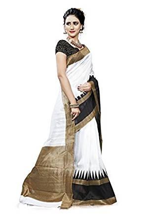 85c17b6445 Ambe saree White Colour Digital Print Bhagalpuri Silk Saree: Amazon.in:  Clothing & Accessories