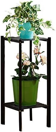 YYQIANG 竹2,3ティアの花は、屋内ウッドバルコニー省スペースフラワー立ちシェルフスタンド (Color : NATURALCOLOR, Size : 27X27X65CM)