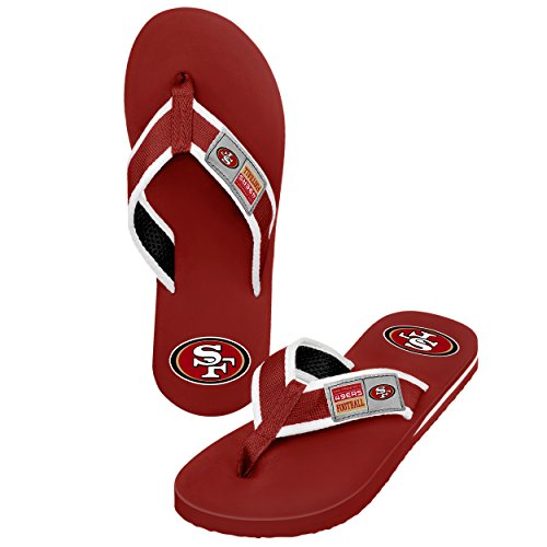 San Francisco 49ers Men's Locker Label Contour Flip Flop, Medium, Red by Forever Collectibles
