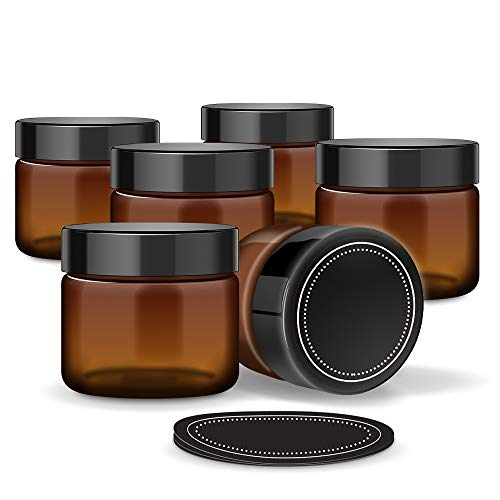 6 Pack Firefly Craft Amber Glass Apothecary and Salve Cosmetic Jars with Lids, 4 Ounces Each