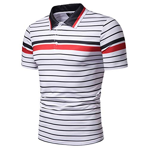Men's Fashion Short Sleeve Stripe Painting Large Size Casual Top Blouse Shirts White