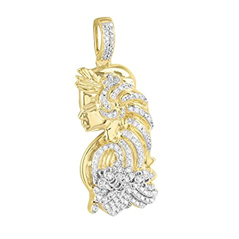 Iced Out Lady Designer Pendant Lab Diamonds 14k Gold Finish Over Sterling Silver Classy (Men Gold Over Silver Chain)