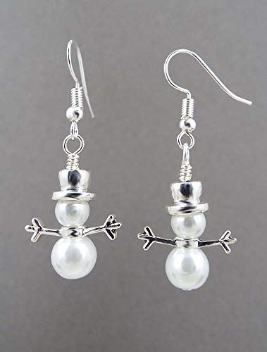 (Snowman Earrings with Glass Pearls Silver Toned Hat and Ear Wires)