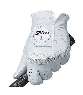 Titleist New Men's Perma Soft Smooth Cabretta Leather Golf Glove, Fit on Left Hand, Regular-Small, Pearl White on White