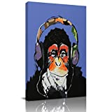 Home Decor Canvas Wall Art Painting, Cool Ape Listening Music with Headphone Prints, Morden Artwork Framed for Living Room Wall Decorations Ready to Hang 12'x18'