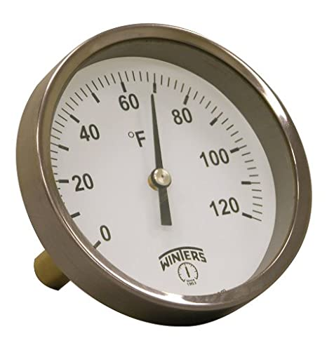 2-7//16 Stem 30-250 F//C Range 3-1//2 Dial Display Winters TBT160 Dual Scale Steel HVAC Bi-Metal Thermometer 1//2 NPT Back Mount Connection