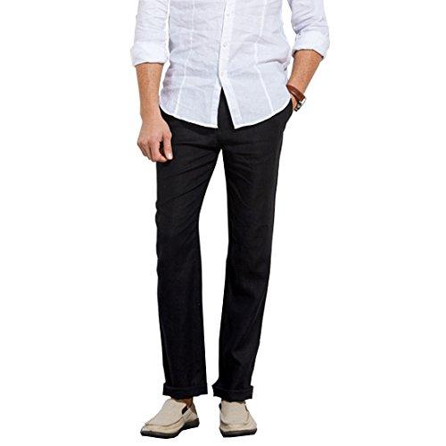 Manwan Walk Men's Casual Beach Trousers Elastic Loose Fit Lightweight linen Summer Pants K70 (Large, Black) (Black Pants Mens Linen)