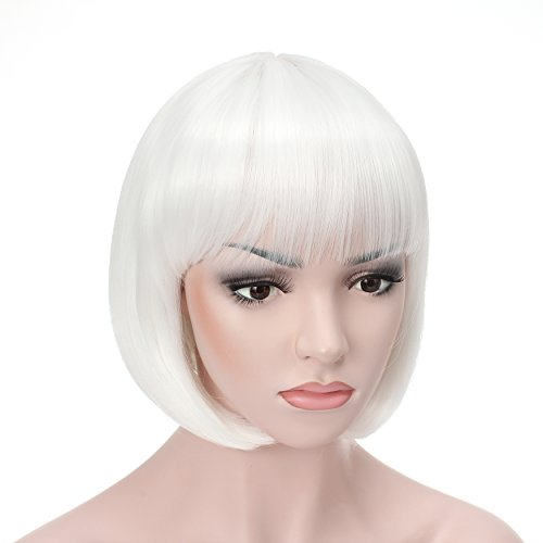"OneDor 10"" Short Straight Flapper Bob Heat Friendly Cosplay Party Costume Hair Wig (1001#-White) (Color Wig)"