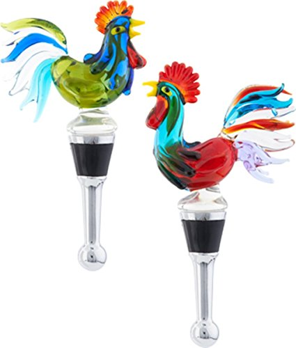 Classic Rooster Glass Art Wine Bottle Stopper Set of 2 Poultry Barnyard Fowl (Glass Stoppers Bottle Blown)
