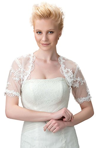 Bridal Jackets Bolero (Sisjuly Women's Short Sleeves Lace Wedding Bridal Bolero Jacket Ivory US16)