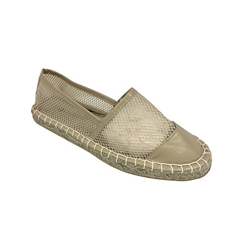 Women Espadrille Mesh Capped Toe Slip On Loafer -Nude Large