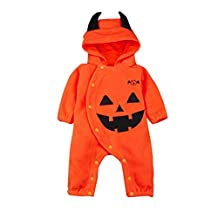 Toddler Infant Baby Girls Boys Pumpkin Bat Hooded Romper Halloween Costumes Party Cosplay Creeper Jumpsuit Outfits