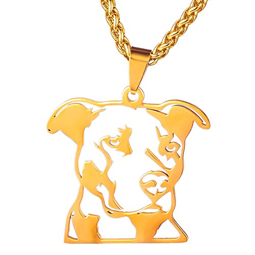 Dogdotnet Gold Plated Stainless Steel Natural Ear Pitbull Pit Bull Staffordshire Bull Terrier Dog Head Outline Pet Dog Tag Breed Collar Charm Pendant Plus Gold Plated Chain Necklace