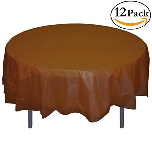 Exquisite 12-Pack Premium Plastic 84-Inch Round Tablecloth - - Brown A Round