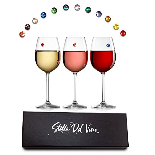 Stella Del Vino Swarovski Crystal Magnetic Wine Glass Charms Set of 12 Drink Markers In Gift Box, Work on Stemless Glasses, Champagne Flutes and Cocktail Glasses