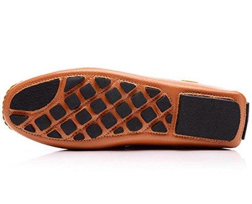 Beauqueen Cuero de los hombres que conduce los holgazanes que adornan la correa Suela suave superior transpirable antideslizante Zapatos ocasionales UE tamaño 39-44 Blue