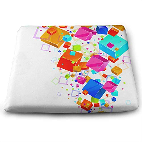 Seat Cushion for Office Chair, Cube Colorful Home Office Decoration Square Seat Cushion Seat Chair Pad for Truck Driver,Kitchen Chairs,Car,Office