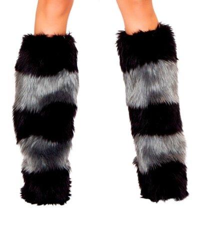 Black & Grey Fur Striped Leg Warmers Costume (Warm Womens Halloween Costumes)
