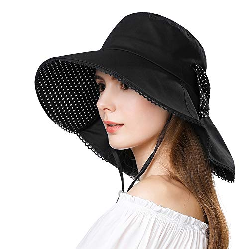 UV Protection Sun Hats for Women Summer Gardening Fishing Hiking Travel Shade Hat Wide Brim Packable Medium ()