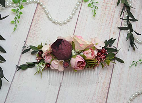 Amazon Com Blush Pink Deep Red Eucalyptus Hair Comb Slide Bridal