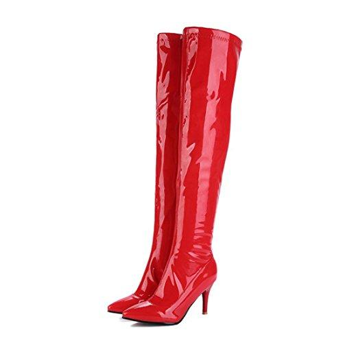 Rouge Au Femmes L'hiver Pour Chaussures mollet Bout Aiguilles Talons Uh Bottes Fourrure Vernis Avec Mi Chaud Pointu Hautes Plateforme UxwAUY