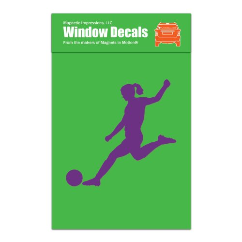 Magnetic Impressions Soccer Player Female Car Window Decal Lavender