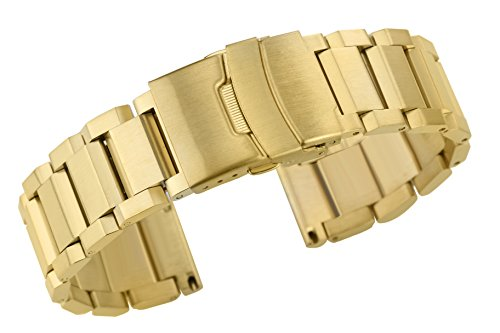 - 22mm Deluxe Solid 316L Stainless Steel Watch Bracelets in Gold Folding Clasp with Safety Straight End