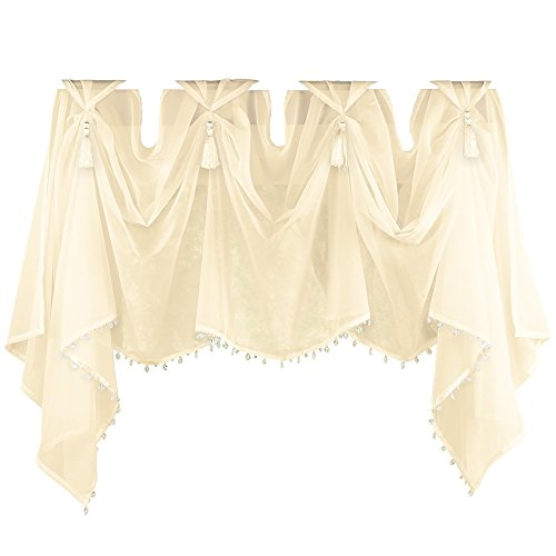 Collections Etc Elegant Sheer Scoop Tassel Crystal Beading Rod Pocket Window Curtain Valance, Cream