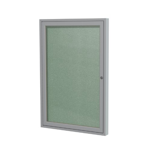 "1 Door Outdoor Enclosed Bulletin Board Surface Color: Mint, Size: 3' H x 2'6"" W, Frame Finish: Satin for sale"