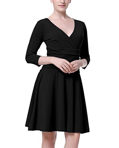 Mixfeer Women's Slimming 3/4 Sleeve Cross V Neck Empire Ruched Waist Fit and Flare Casual Cocktail Party (Ruched Empire Cocktail)
