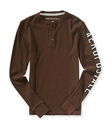 Aeropostale Mens Thermal Henley Shirt, Brown, X-Small ()