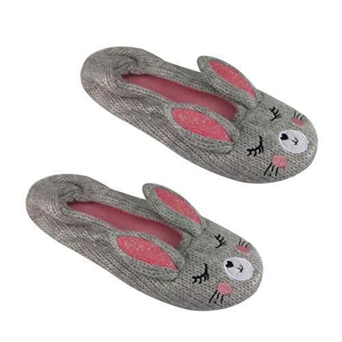 (Slipper Socks for Women - Unicorn, Bunny, Pig, Cat, Bear & Owl 3D Designs (Ladies 11-12, Bunny - Grey/Pink Knit))