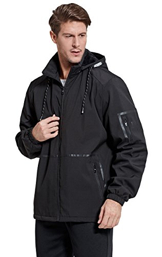Cityoung Men Men's Outdoor Waterproof Fleece Jacket With Removable Hood Size S (Black)