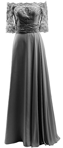 Sleeve the Half Shoulder Chiffon Gown Lace Prom Off MACloth Evening Formal Dress Grau 6qIUSn