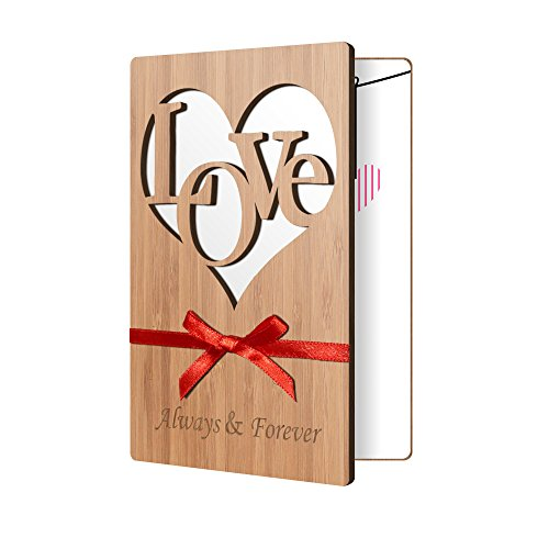 Premium Bamboo Wood Greeting Card: Handmade Card Perfect To Say I Love You, Anniversary, Wedding, Father's, or Mother's Day Card