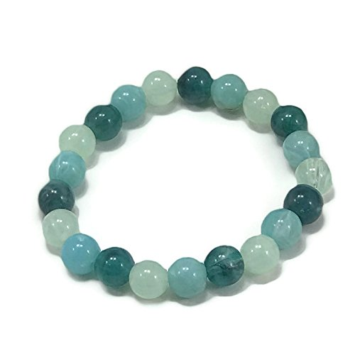 Blue Beaded Bracelet by WestMarketDesign | Aqua Green, Turquoise, Sea Blue Bead Bracelet, Yoga Stackable Mix Beads | Boho Chic Earthy Jewelry Gifts For Less (Bead Mix Jewel)