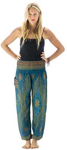 Tori Wear Women's Smocked Waist Baggy Bohemian Harem Pants - Galaxy