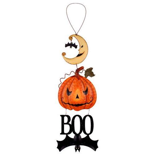 Halloween Hanging Decorations Pumpkin Bat Boo Metal Hanging Sign (Large Image)