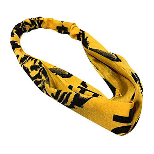 BUKEZH Women Girls Hairband Sports Elastic Hair Head Hoop Casual Headband (Yellow)