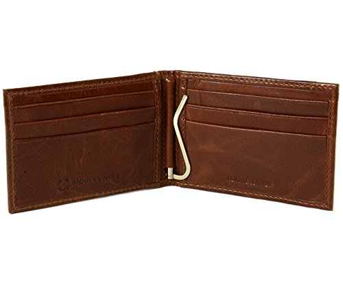 Alpine Swiss Mens Genuine Leather Spring Loaded Bifold Money Clip Wallet CH (Spring Loaded Money Clips)