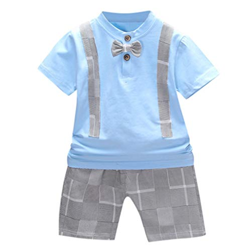 2Piece Toddler Infant Baby Boy Summer Gentleman Outfits Set,Short Sleeve Bowknot T-Shirt Shorts Clothes Suit Light -