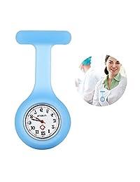 Yesurprise Silicone Nurse Watch Quartz Clip on Brooch Fob Pin Pocket Watches Montre de poche Blue