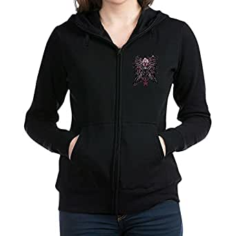 Royal Lion Women's Zip Hoodie (Dark) Heart Locket with Wings - Black, XL