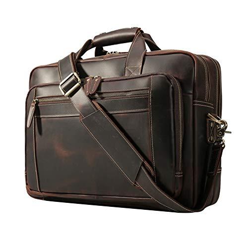 Men's Vintage Messenger Satchel Leather Multi-purpose Casual Travel School Case Tablet 17 Inch Laptop Shoulder Bag Business Briefcase Tote Handbag Brown ()