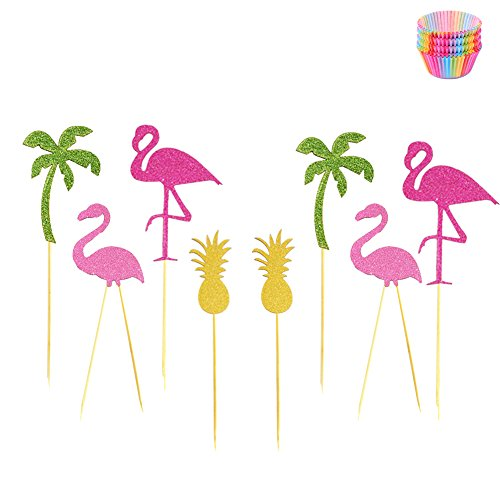 16pcs-Hawaii-Pineapple-Flamingo-Cupcake-Toppers-Wrappers-Baby-Shower-Girl-Birthday-Party-Cupcake-Toppers-Wedding-Bridal-Shower-Included-100pcs-Cupcake-Wrappers