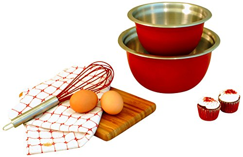 Cook Pro 798 2-Piece Stainless Steel Mixing Bowl Set, Red
