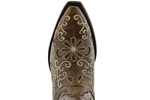 Gyllene Vapen - Kvinna Brunt Broderade Overlay Läder Cowboy Stövlar Brun