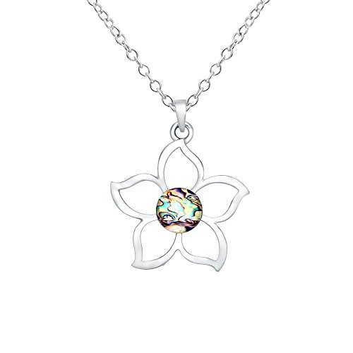 (CHUANGYUN Hollow Blooming Bauhinia Pendant with Abalone Shellfish Finish Charm Necklace Female Jewelry)