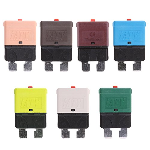 Dovewill 7 Pieces 28V 5A 7.5A 10A 15A 20A 25A 30A Mini Blade Fuse Manual Circuit Breakers for Car - Replace 15a Breaker Circuit